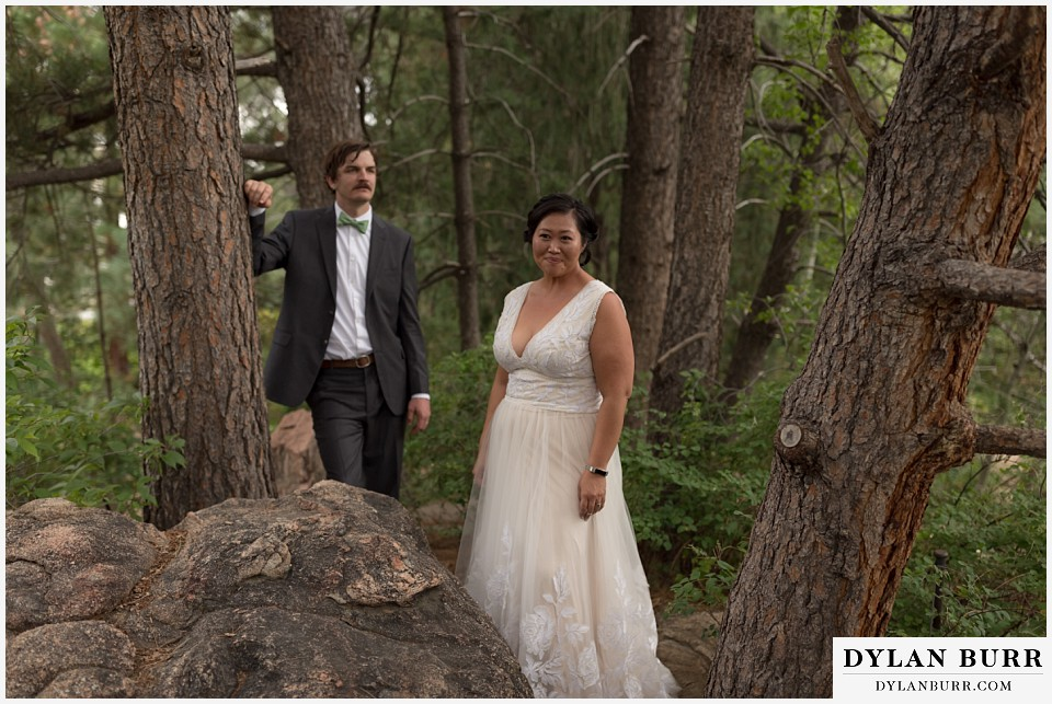 denver botanic gardens wedding colorado woodland mosaic bride groom standing in pine trees