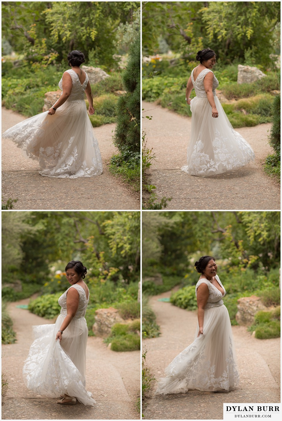denver botanic gardens wedding colorado woodland mosaic bride spinning in her wedding dress