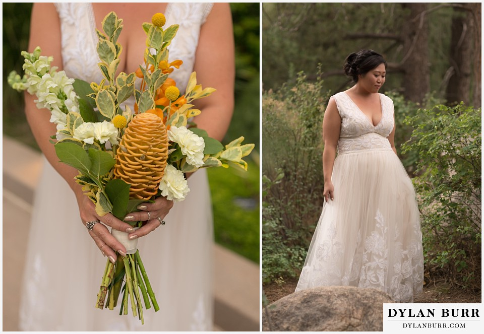 denver botanic gardens wedding colorado woodland mosaic bride in woods with wedding bouquet with beehive ginger