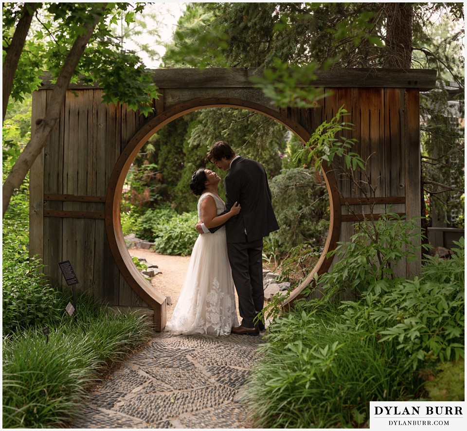 denver botanic gardens wedding colorado woodland mosaic bride groom in archway in June's PlantAsia
