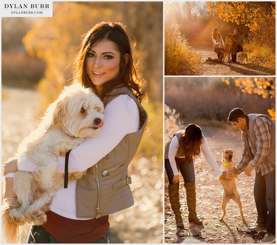 denver engagement photographer with dogs