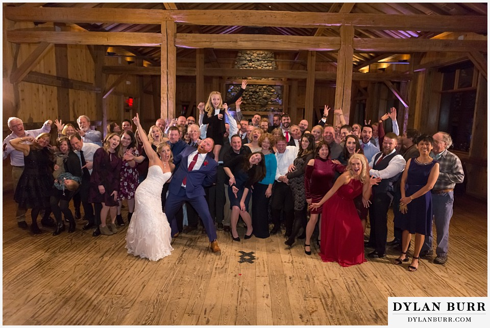 devils thumb ranch wedding in winter all wedding guests photo