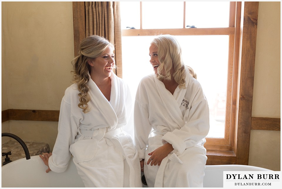 devils thumb ranch wedding in winter bride maid of honor
