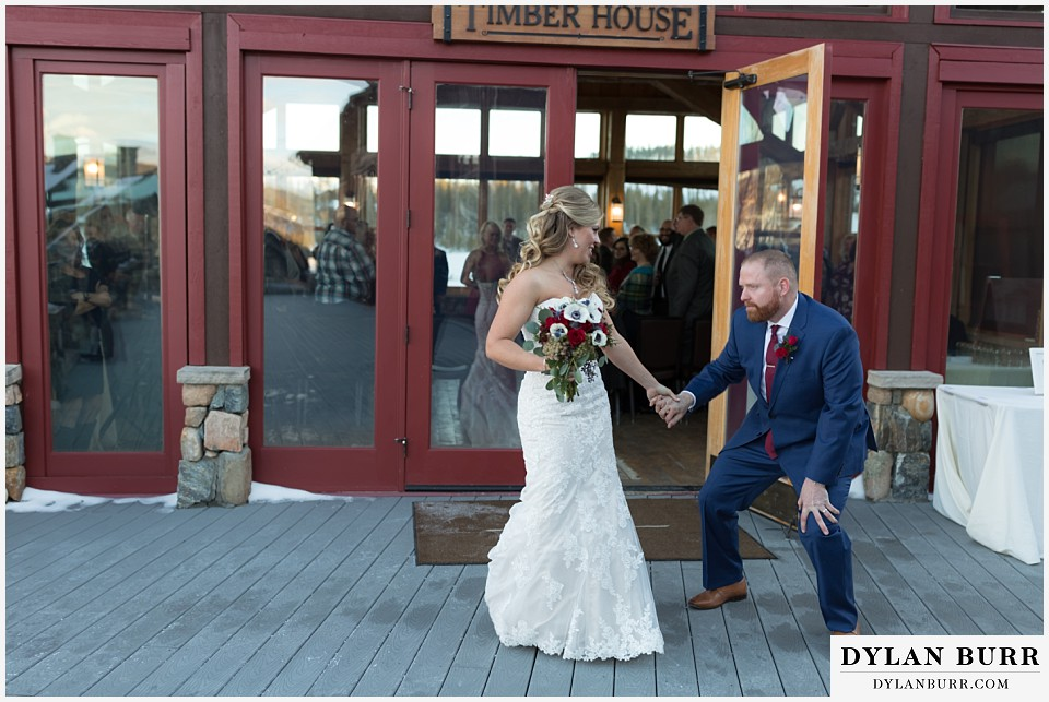 devils thumb ranch wedding in winter ceremony timber house celebration