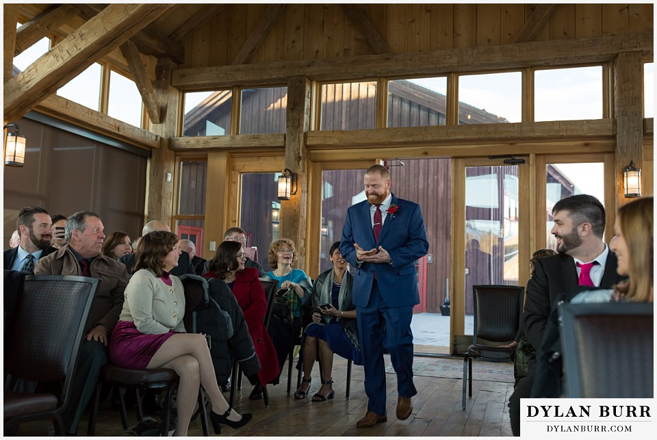 devils thumb ranch wedding in winter ceremony timber house