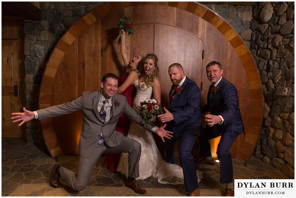 devils thumb ranch wedding in winter fun bridal party