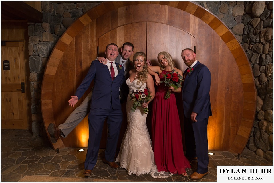 devils thumb ranch wedding in winter goofy bridal party
