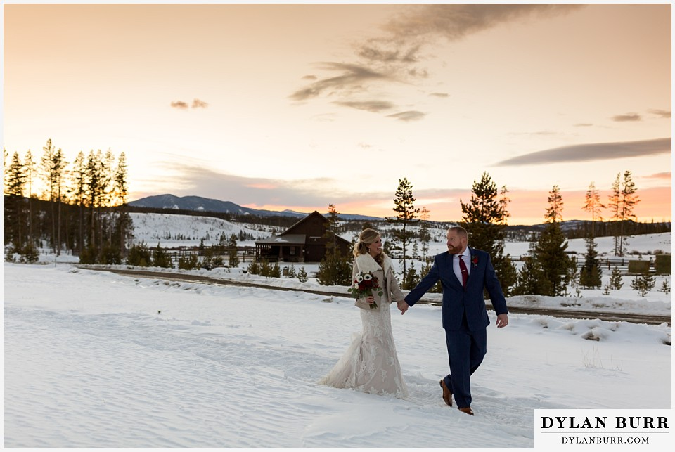 devil's thumb ranch wedding in winter sunset mountains