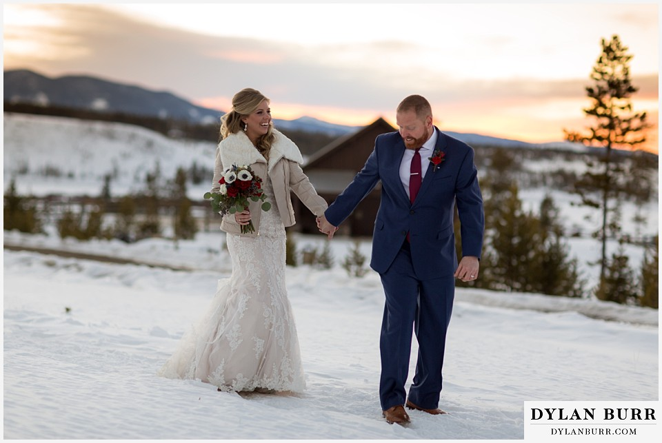 devils thumb ranch wedding in winter sunset