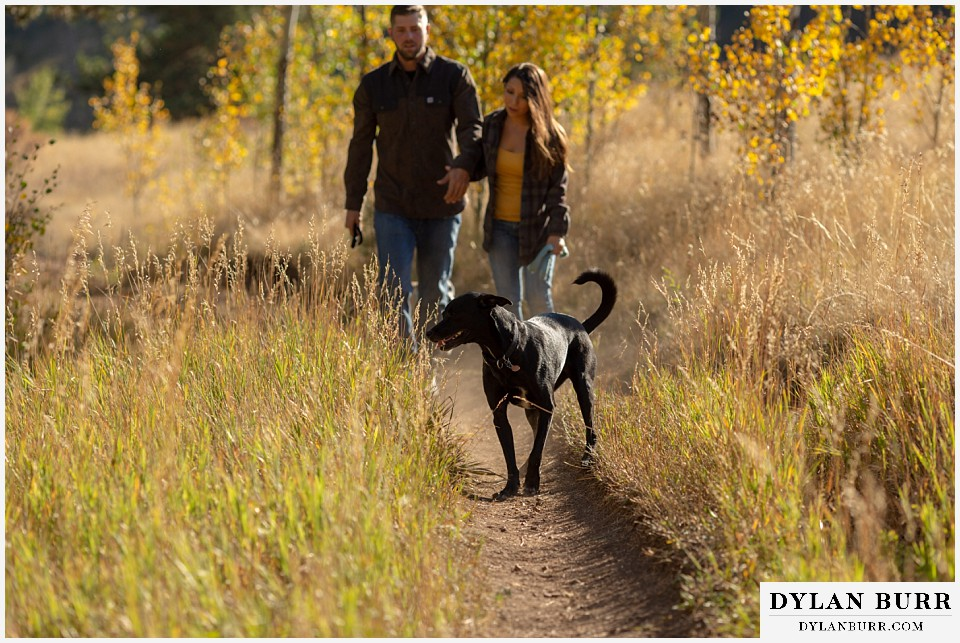 engagement photos golden colorado photographer couple walking with their dogs in mountains