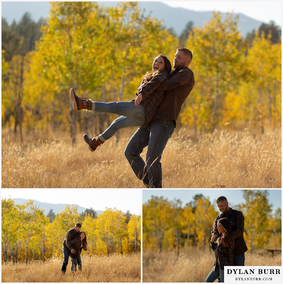 engagement photos golden colorado photographer hes swinging her around in a meadow field