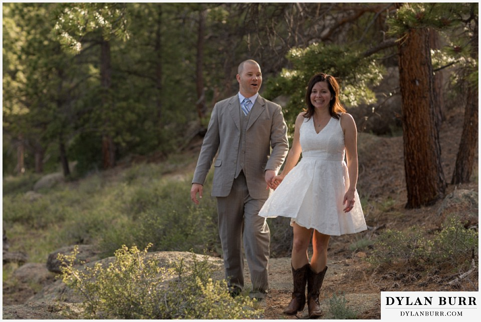 rocky mountain estes park engagement session white dress hiking cowboy boots
