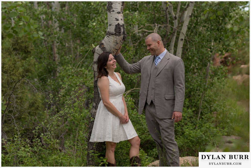 rocky mountain estes park engagement session couple near aspen trees