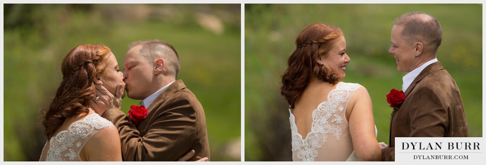 estes park wedding elopement first kiss