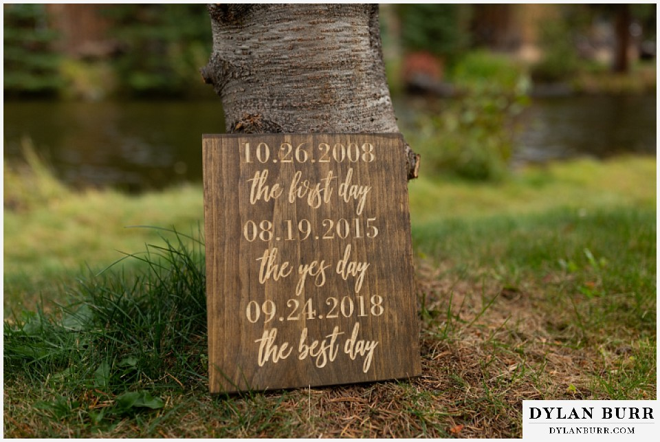 grand lake wedding elopement wood plaque with important dates to the couple