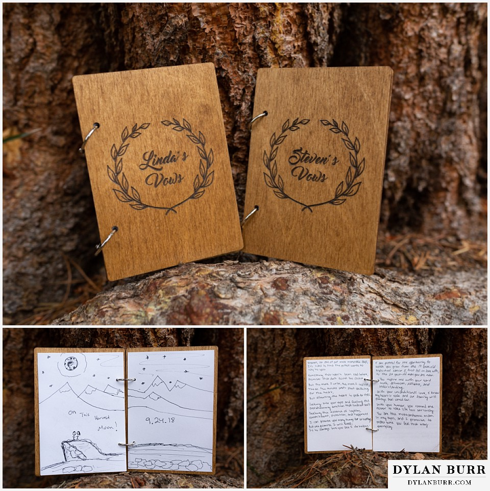 grand lake wedding elopement wooden booklets of wedding vows