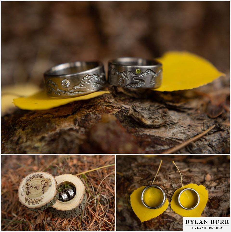 grand lake wedding elopement handmade engraved wedding rings with mountain ranges