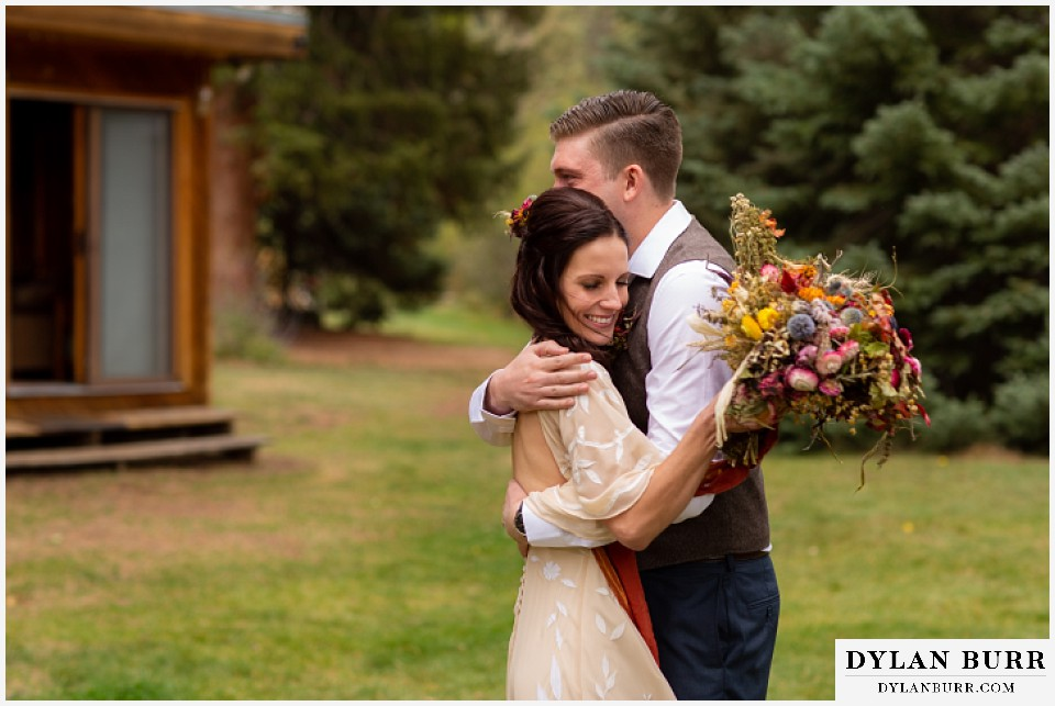 grand lake wedding elopement bride and groom see each other for the first time