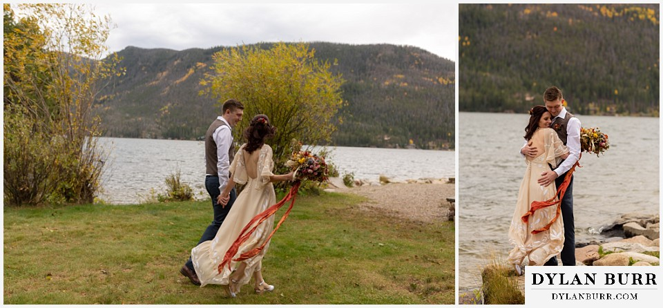 grand lake wedding elopement bride and groom standing near lake shore