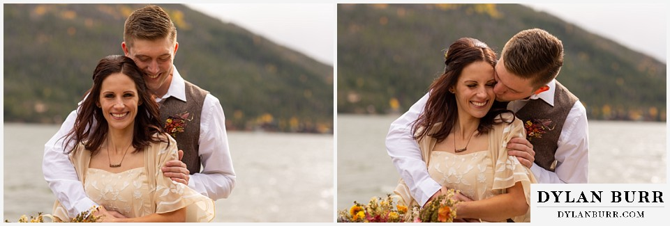 grand lake wedding elopement happy bride and groom by the lake