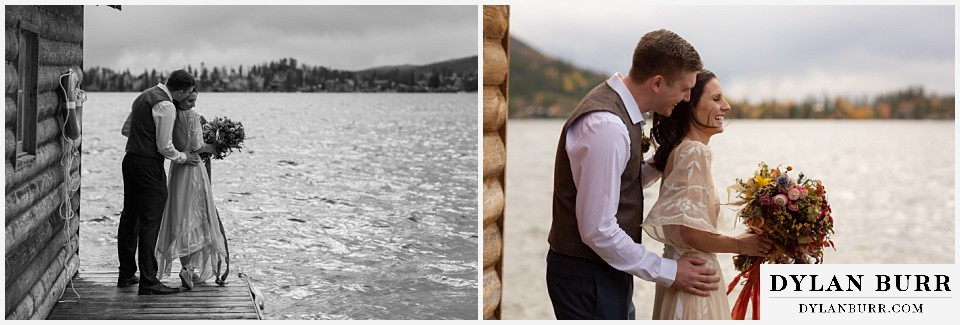 grand lake wedding elopement groom kissing brides cheek and making her laugh