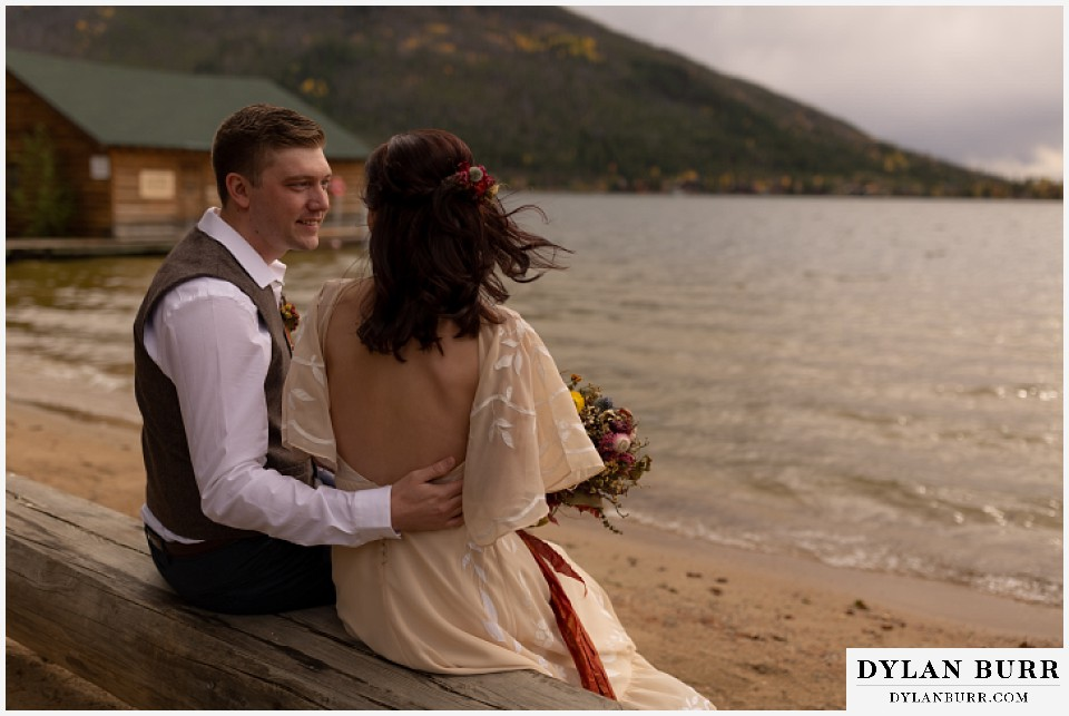 grand lake wedding elopement groom looking at his bride with love