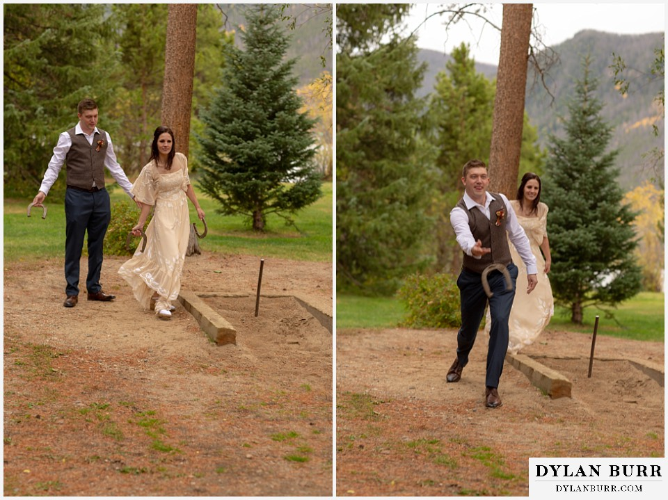 grand lake wedding elopement bride and groom playing horseshoes