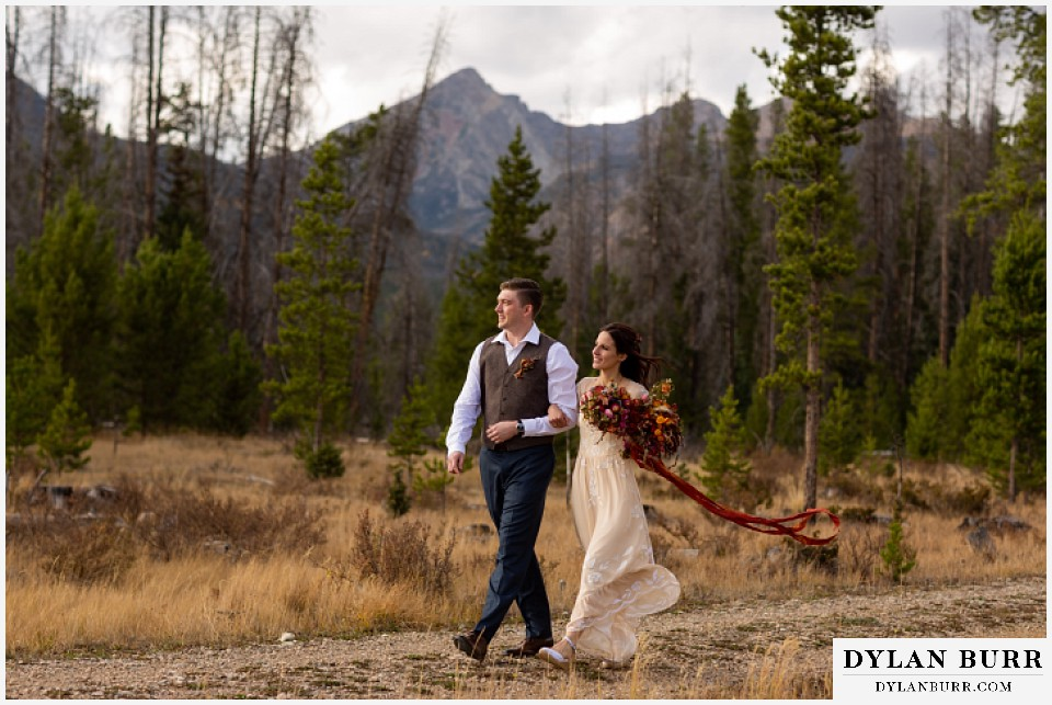 rocky mountain national park grand lake wedding elopement bride and groom with giant mountains in background