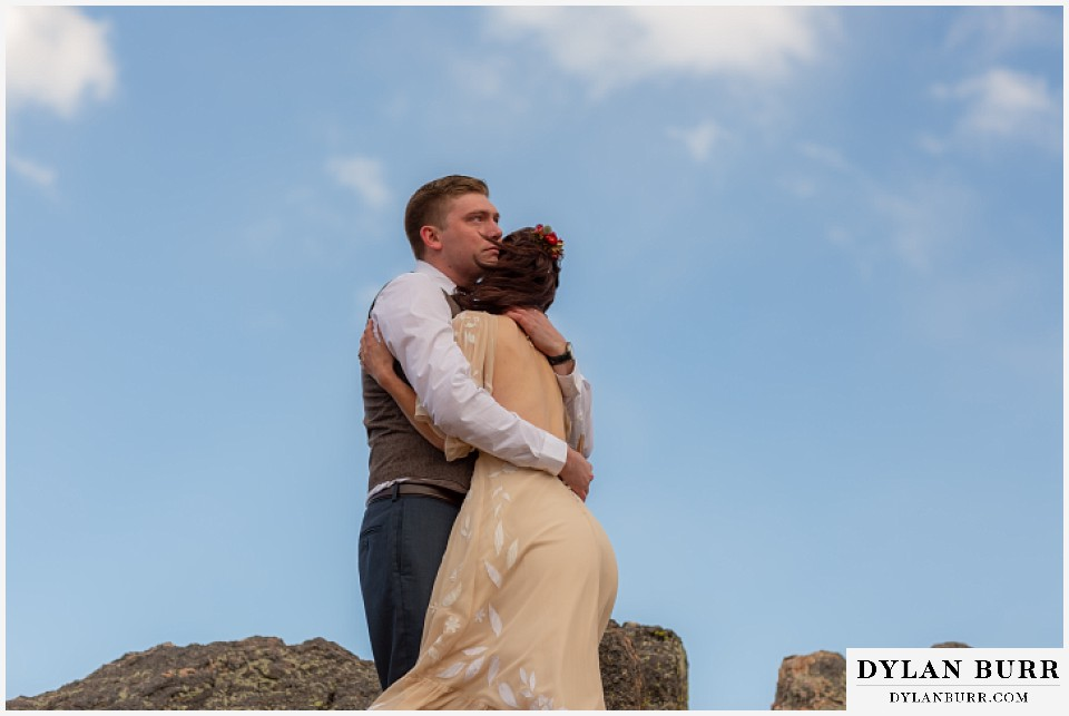 rocky mountain national park grand lake wedding elopement groom tearing up