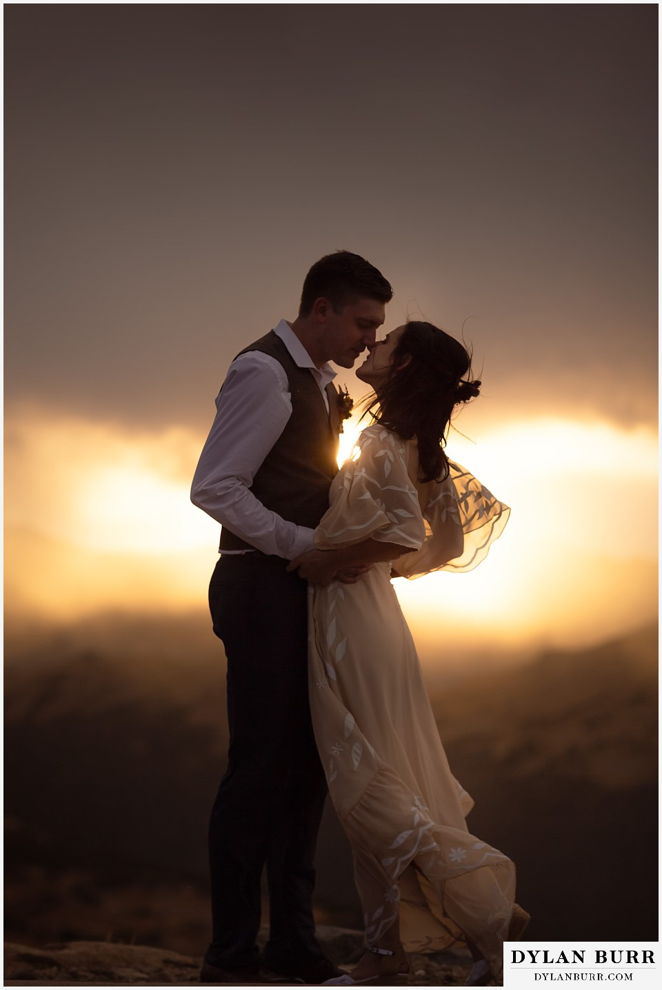 rocky mountain national park grand lake wedding elopement bride and groom super close together at sunset