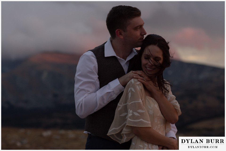 rocky mountain national park grand lake wedding elopement bride and groom at twilight