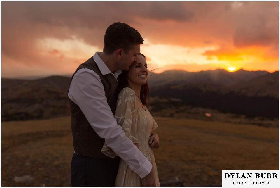 rocky mountain national park grand lake wedding elopement bride and groom in mountains at sunset in the fall