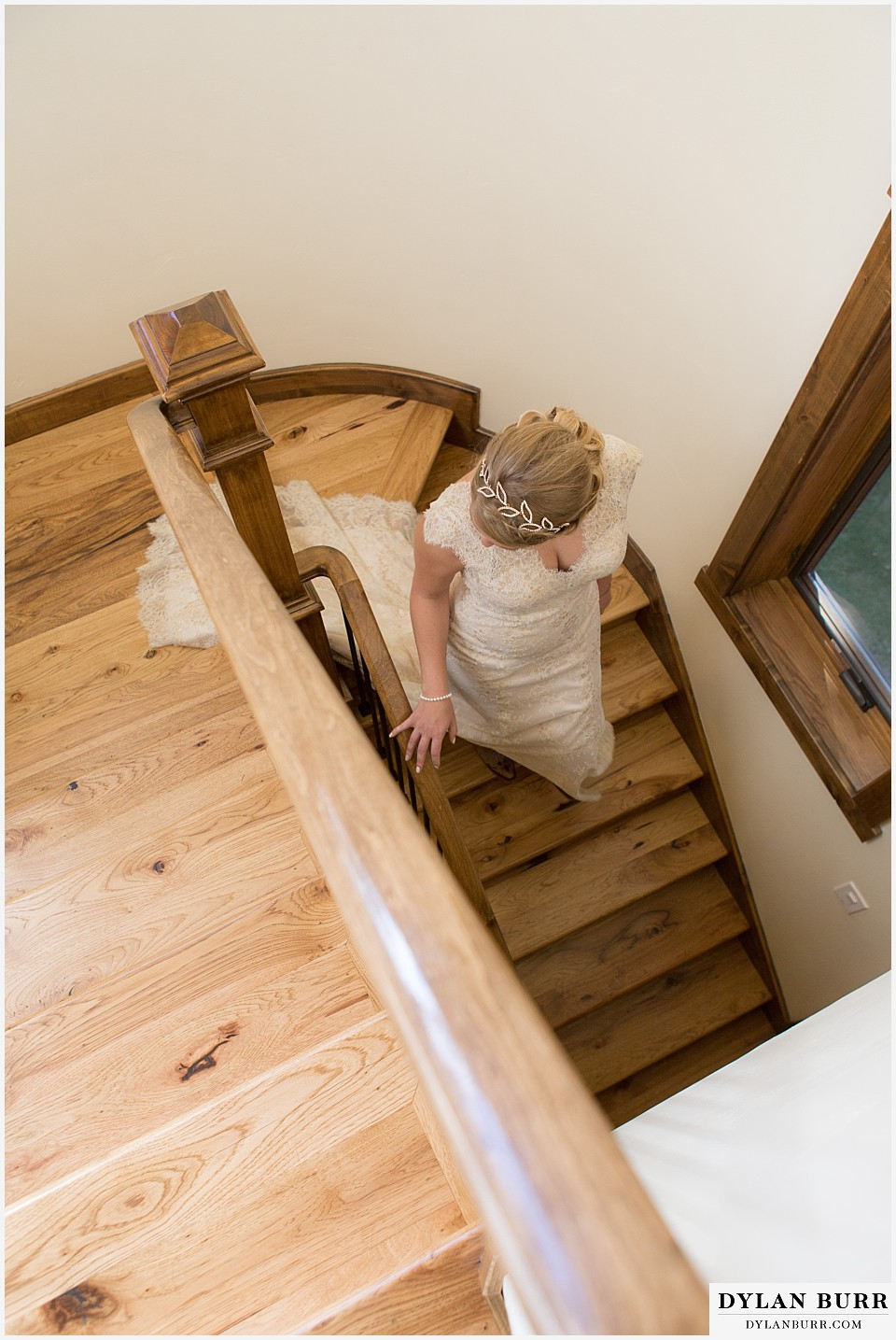 grand teton wedding bride staircase