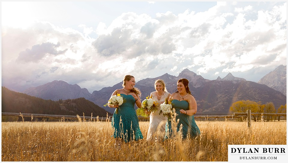 grand teton wedding fun bridal party photos bride