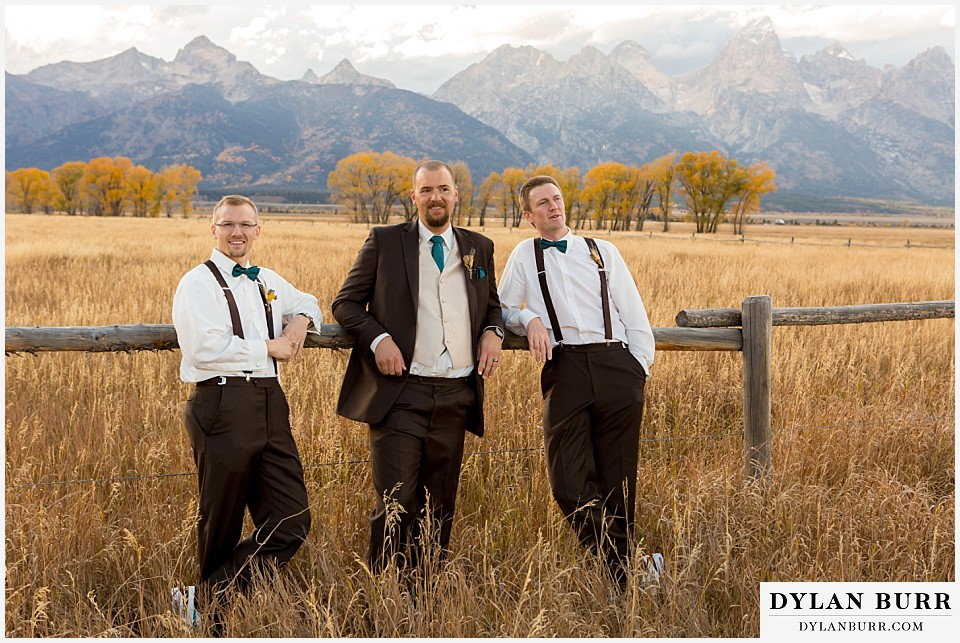grand teton wedding fun bridal party photos groomsmen