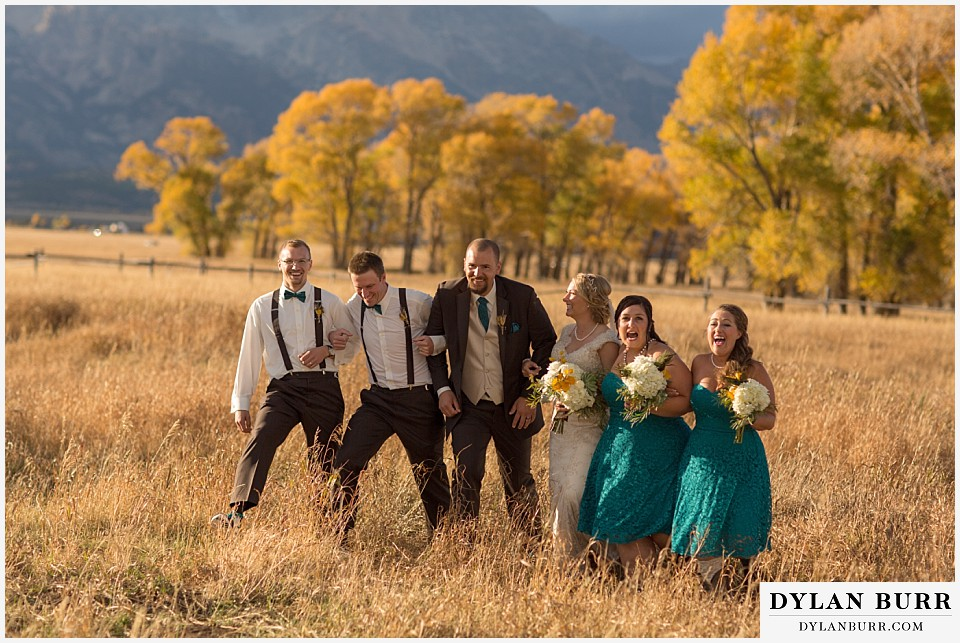 grand teton wedding fun bridal party photos