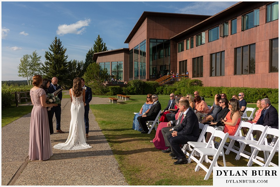 jackson lake lodge wedding grand tetons wyoming side view of ceremony on lawn