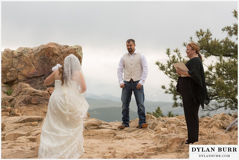 colorado mountain elopement lost gulch overlook wedding boulder co bride walking to groom