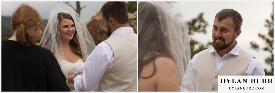colorado mountain elopement lost gulch overlook wedding boulder co exchanging vows