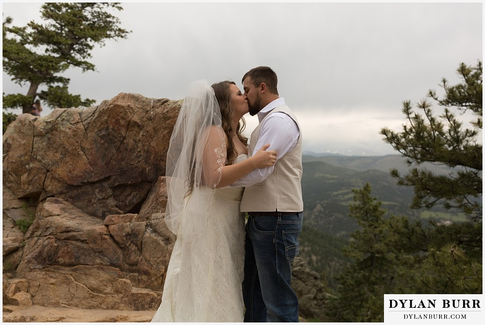 colorado mountain elopement lost gulch overlook wedding boulder co first kiss