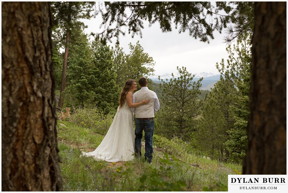 colorado mountain elopement lost gulch overlook wedding boulder co pine trees