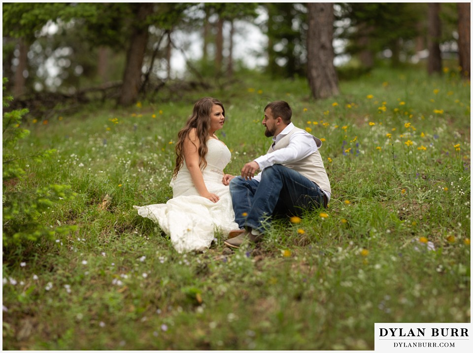 colorado mountain elopement lost gulch overlook wedding boulder co wildflowers in a field