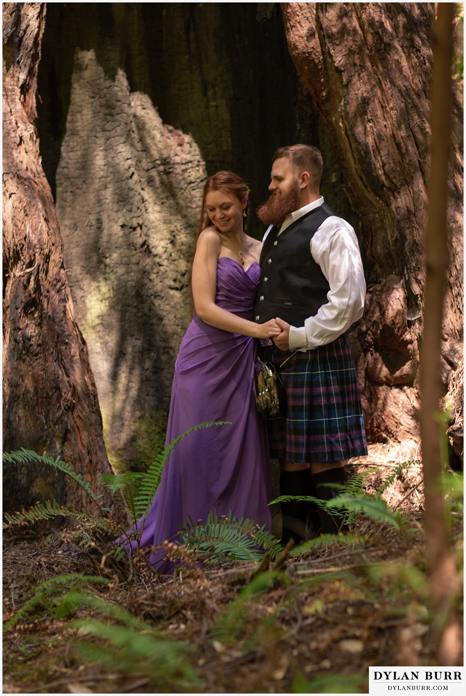 redwood forest wedding elopement avenue of the giants california cute maid of honor and scottish best man together