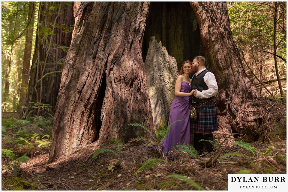 redwood forest wedding elopement avenue of the giants california maid of honor and best man together