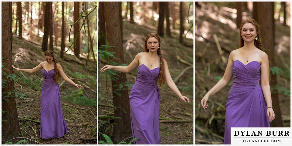 redwood forest wedding elopement avenue of the giants california maid of honor walking in forest