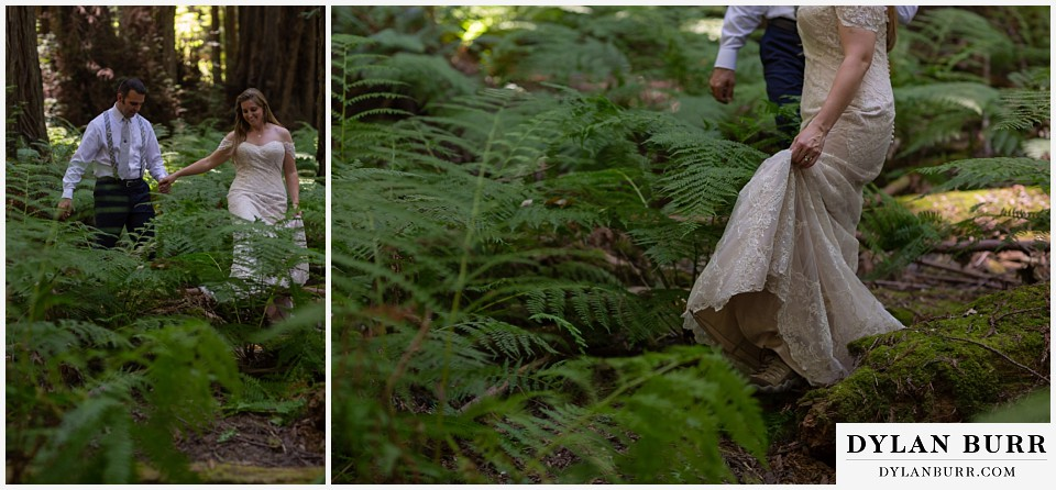 redwood forest wedding elopement avenue of the giants california bride and groom walking tall ferns