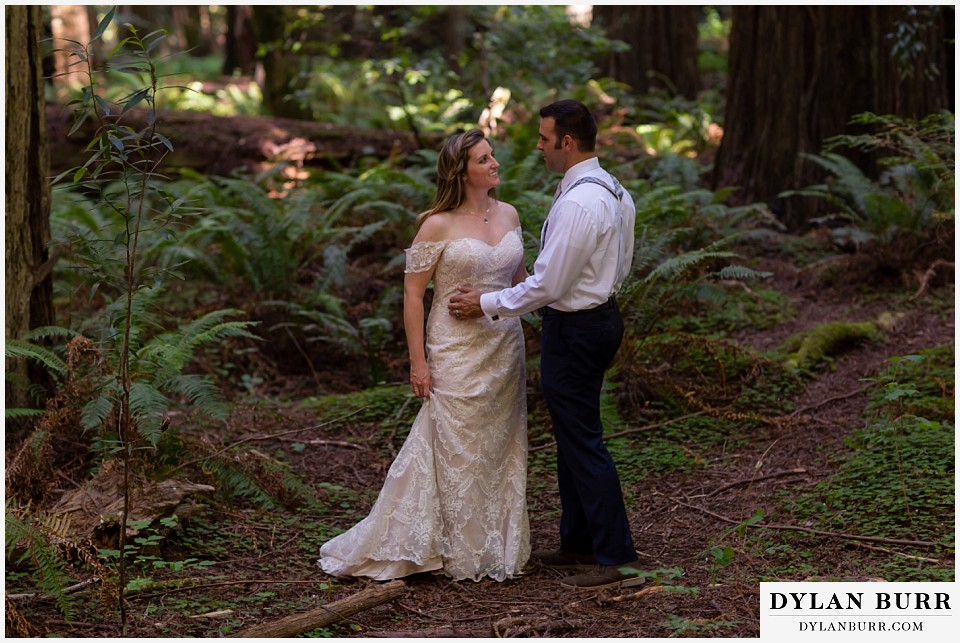 redwood forest wedding elopement avenue of the giants california bride and groom standing near ferns