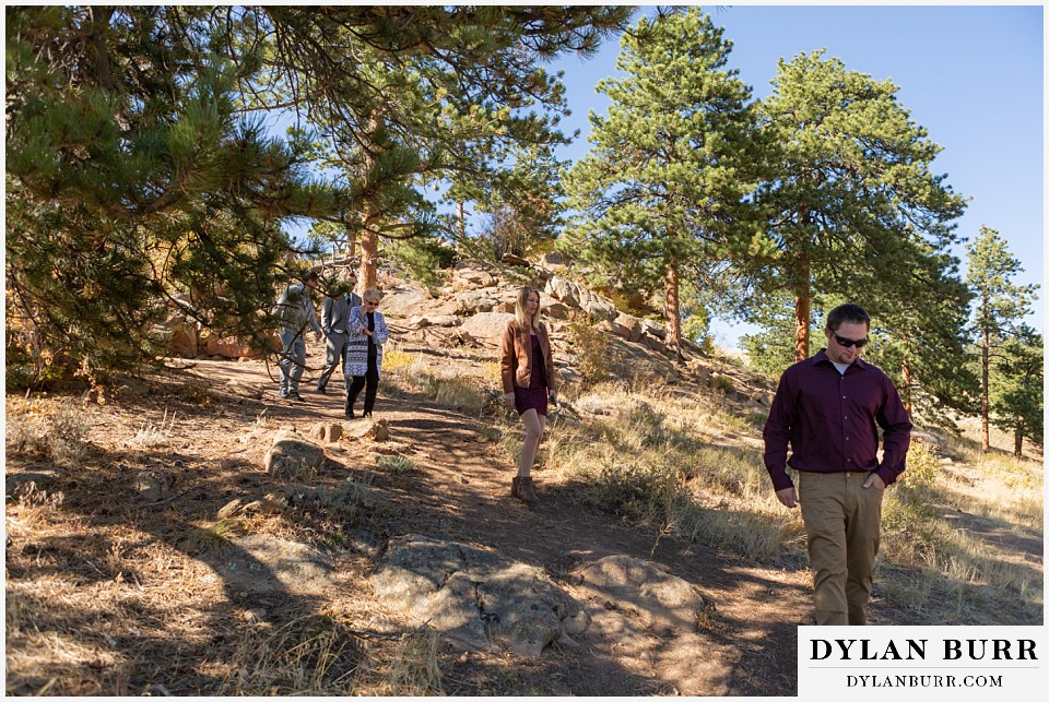 rocky mountain national park elopement wedding family walking down to ceremony site