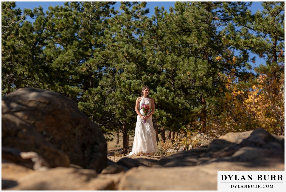 rocky mountain national park elopement wedding bride waiting to enter ceremony