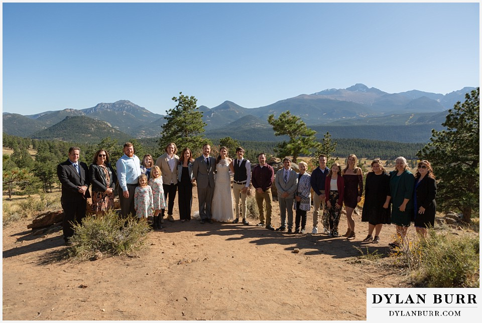 rocky mountain national park elopement wedding whole family photograph